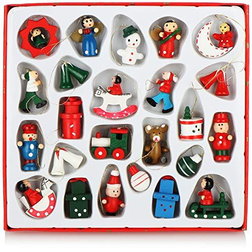 com-four® 24-teiliges Set Holzfiguren Weihnachten - Weihnachtsschmuck aus Holz - Holzfiguren für den Weihnachtsbaum zum Anhängen (0024 Stück - Holzfiguren)