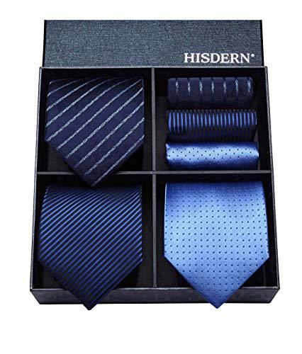 HISDERN Los 3 Stck Herren Krawatte Tupfen-Karo Streifen Solid Color Hochzeitsfest-Taschentuch Krawatte und Einstecktuch - Mehrere Sets