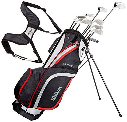 Wilson Anfänger-Komplettsatz, 10 Golfschläger mit Carrybag, Herren, Rechtshand, Stretch XL, schwarz/grau/rot, WGG157551