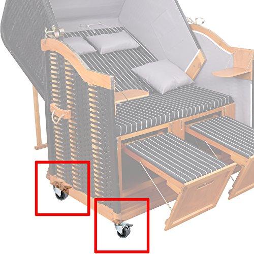 4x Strandkorbrollen bis 100kg/ pro Doppelrolle jeweils mit Bremse Rasen geeignet von XINRO