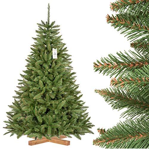 FairyTrees künstlicher Weihnachtsbaum FICHTE Natur, grüner Stamm, Material PVC, inkl. Holzständer, 180cm, FT01-180