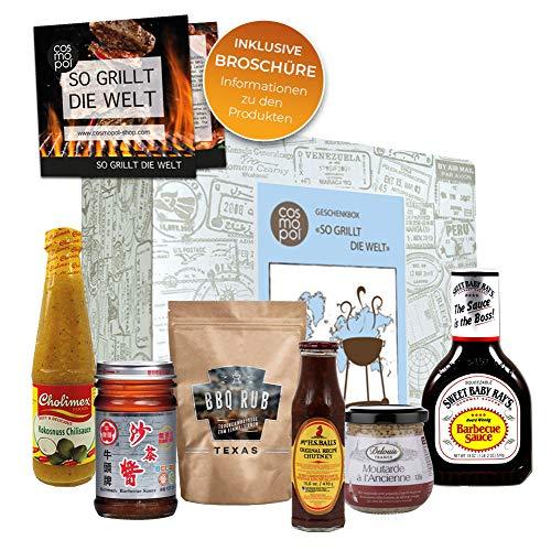 Geschenkbox'So Grillt Die Welt' | Grillset BBQ Sauce BBQ Rub | Grill Geschenkset Grillen Für Männer | Grillzubehör Grill Geschenke Für Männer