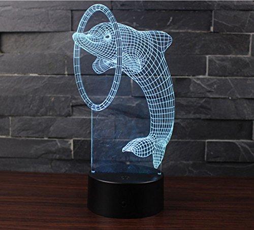3D Optische Illusions-Lampen NHsunray LED 7 Farben Touch-Schalter Ändern Nachtlicht Für Schlafzimmer Home Decoration Hochzeit Geburtstag Weihnachten Valentine Geschenk Romantische Atmosphäre (Delphin)