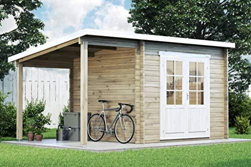 CARLSSON Alpholz Gartenhaus Maria mit Schleppdach aus Massiv-Holz   Gerätehaus mit 28 mm Wandstärke   Garten Holzhaus inklusive Montagematerial   Geräteschuppen Größe: 450 x 250 cm   Pultdach