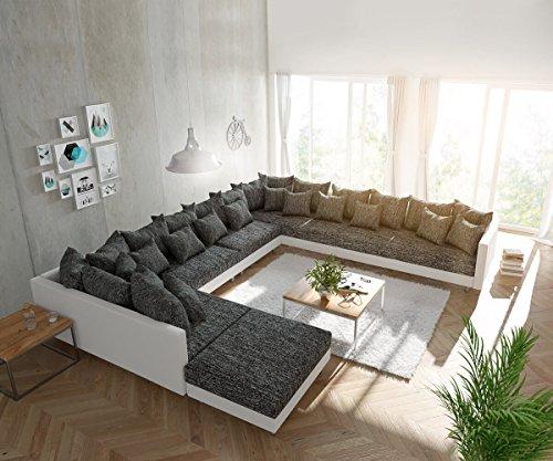 DELIFE Couch Clovis modular - Ecksofa, Sofa, Wohnlandschaft & Modulsofa (Schwarz/Weiss, Sofa XXL Rechts mit Hocker)