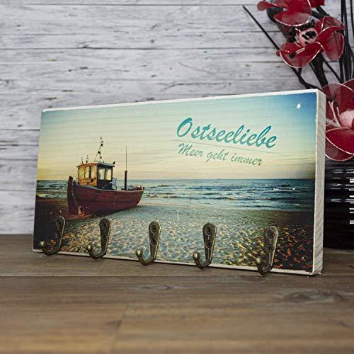 elbPLANKE mit Haken - Ostseeliebe | 12x24 cm | Schlüsselbrett von Fotoart-Hamburg | mit 5 Antike Haken aus Holz (Kiefer/Fichte) - 100% Handmade