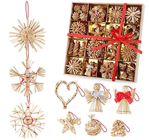 ilauke Weihnachtsbaumschmuck aus Stroh 60-teiliges Strohsterne Set Strohsterne Weihnachtsbaumschmuck-Natur Stroh Baumbehang