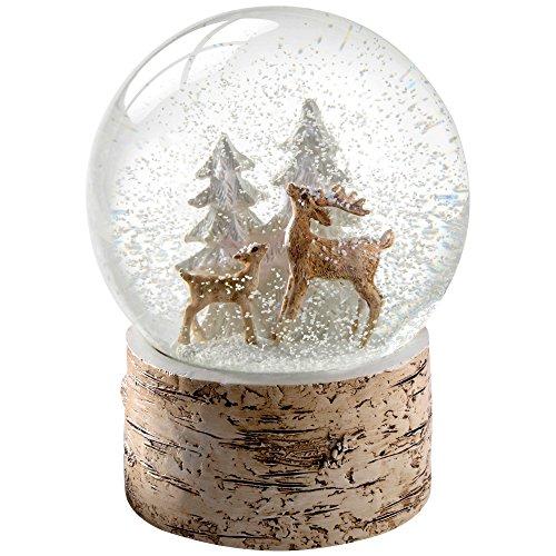 WeRChristmas Schneekugel mit REH und Rehkitz als Motiv, Sockel im Birkenholz-Look, Weihnachtsdekoration, 15cm, Mehrfarbig
