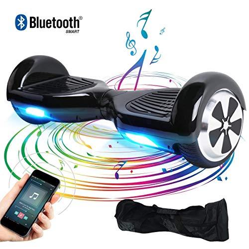 BEBK Elektro Scooter, 6.5' Hoverboard, Self Balance Scooter mit Bluetooth Lautsprecher, 2 * 250W Motor, LED Lights (schwarz)