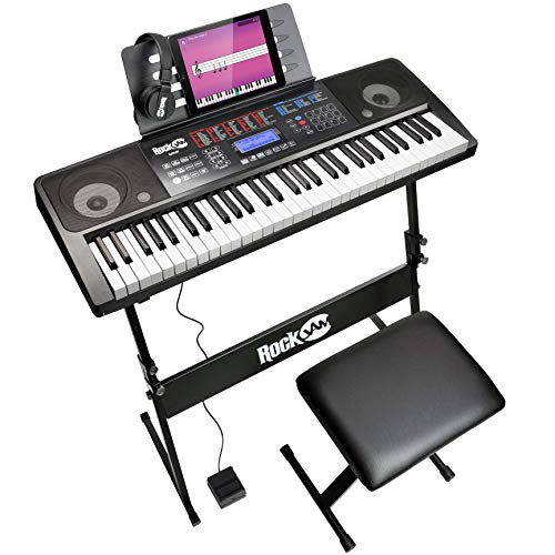 RockJam RJ761 61 Tastatur-Klavier-Kit, 61 Schlüssel-Digital-Piano, Keyboard Bench, Keyboardständer, Kopfhörer, Sustain Pedal & Einfach Piano Anwendung