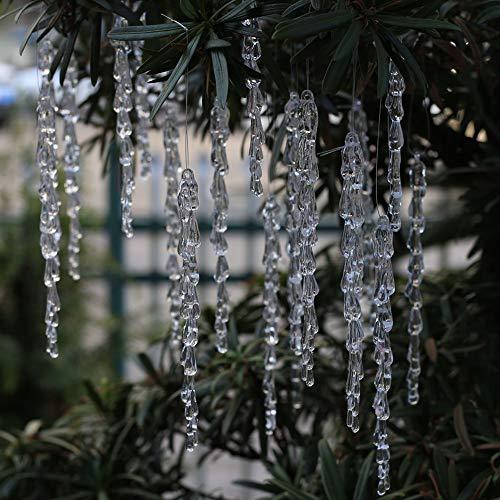 DAHI Christbaumschmuck eiszapfen Anhänger 25 Stück - Acryl eiszapfen deko weihnachtenbaum Anhänger (eiszapfen 25pcs)
