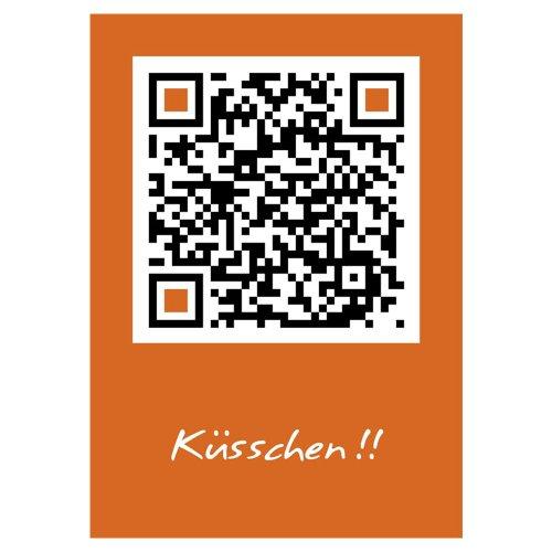 QRCP QR-Code Postkarten - DINA6 - Küsschen!! Karte scannen und lustiges Tierbild sehen. Super Karten-Gruss für Beste Freundinnen.