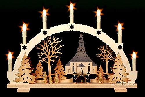 3D Schwibbogen Seiffener Kirche & Kurrende Handarbeit Erzgebirge Weihnachten erzgebirgischer