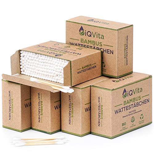1200 Bambus Wattestäbchen (6 x 200 Stück) – 100% Plastikfrei, Biologisch Abbaubar, Vegan & Nachhaltig – Reines Naturprodukt