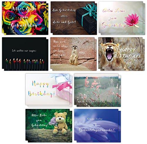 20er Geburtstagskarten Set mit lustigen Postkarten // 2 x 10 hochwertige Karten mit Sprüchen rund um Geburtstag// 350g Bilderdruck für höchste Qualität // Glückwunschkarten von Sophies Kartenwelt
