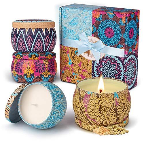 Duftkerze Set Aroma Kerzen 4 Stück Weihnachten Geschenkset, Natürliches Sojawachs Kerze von Frühling frisch, Zitrone, Lavendel, Feigen Düfte, für Bad Geburtstag Yoga Jahrestag Damen Geschenke