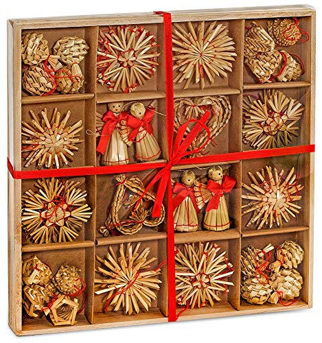 Brubaker 48-teiliges Set Strohsterne Weihnachtsbaumschmuck aus Stroh - bis zu 6,5 cm große Sterne Herzen Engel