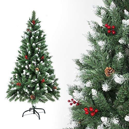 Sunjas Weihnachtsbaum künstlich, 120/150/180/210 cm mit Tannenzapfen, Tannenbaum mit Schnee-Effekt und rote Beere Deko, beschneiten Spitzen und Kunsttanne mit Metallständer (150cm)