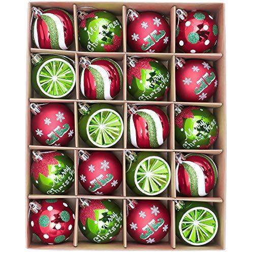 Victor's Workshop Weihnachtskugeln 20tlg.6cm Christbaumkugeln Weihnachtsbaumschmuck Plastik Ornament Weihnachten Deko für Party Herrliches Weihnachten Thema Rot Grün Weiß MEHRWEGVERPACKUNG