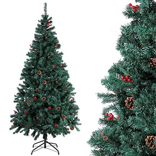 Homfa 195cm Künstlicher Weihnachtsbaum Tannenbaum Christbaum Weihnachten Dekoration mit Tannenzapfen und rote Beere Deko Grün 195x75x85cm