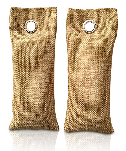 Rummershof Bambus Lufterfrischer mit Aktivkohle 2x75g - Geruchskiller & Luftreiniger für Wohnung, Auto, Küche, WC, Schuhe + EIN gepflanzter Baum
