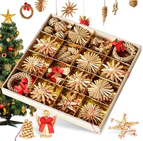 Bluelves Strohsterne Weihnachtsbaumschmuck aus Stroh, 56-teiliges Christbaumschmuck Strohanhänger, Weihnachstbaum Schmuck, Natürlicher Christbaum-Behang, bis zu 6,5 cm große Sterne Herzen Engel