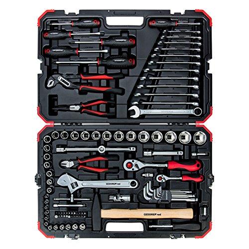 GEDORE red Steckschlüsselsatz, 100-teilig, Mit Umschaltknarre, Ratsche, Steckschlüssel und Bitsatz, Hammer, Ringmaulschlüssel und Zangen