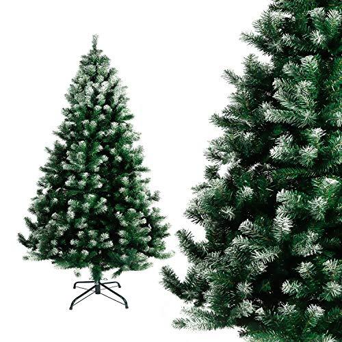 Seekavan Künstlicher Weihnachtsbaum Hochwertiger Tannenbaum Christbaum, mit Metallständer Tannenzapfen Material PVC, 150/180/210/240cm Grün/Weiß, Innen und Außenbereich