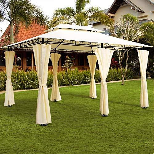Deuba Pavillon Topas 3x4m Seitenwände Eckig Festzelt Partyzelt Gartenlaube Gartenzelt Gartenpavillon Beige