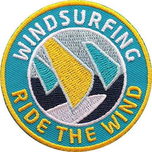 Club of Heroes 2 x Windsurfing Abzeichen gestickt 60 mm/Windsurfen Surfen Surfing/Aufnäher Aufbügler Sticker Patch für Kleidung Ausrüstung Zubehör/Kitesurfen Segeln Surfbrett Surfboard