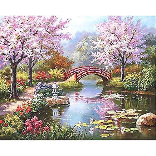 XIXISA Cherry Tree Bridge Handgemachte Farbe Hochwertige Leinwand Schöne Malerei nach Zahlen Überraschungsgeschenk Große Leistung 40x50cm Ungerahmt