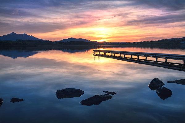 Abendstimmung am Hopfensee. Landschaftsbild Bild Leinwand Bilderrahmen günstig kaufen