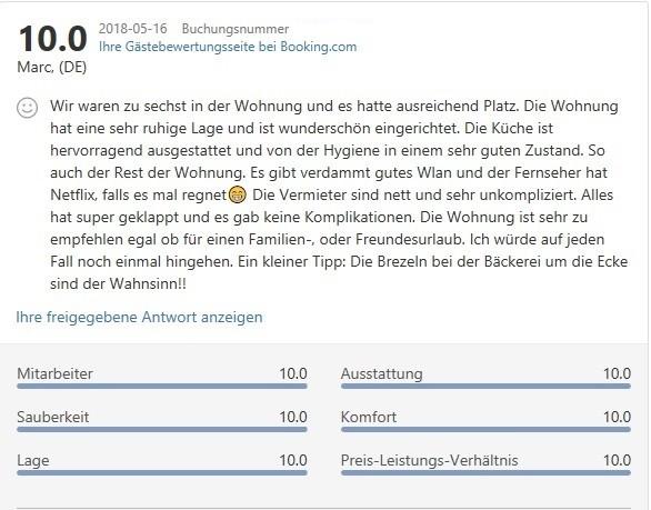 Gästebewertung Ferienwohnung Bodensee Heiligenberg Booking.com