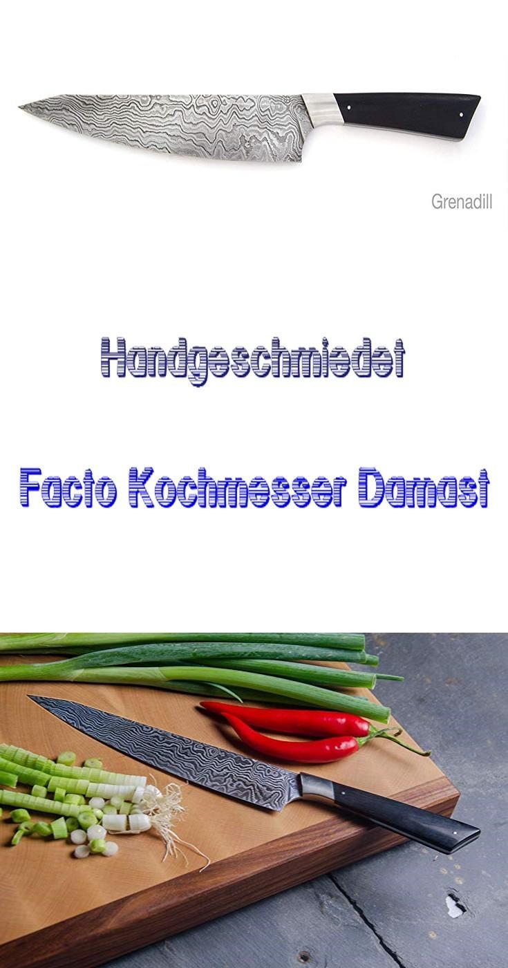 ❤ Geschenkidee ❤ Facto Kochmesser Damast Handgeschmiedet Grenadill Handmade